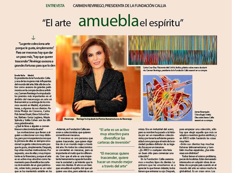 EXPANSIÓN. ENTREVISTA CARMEN REVIRIEGO. EL ARTE AMBUEBLA EL ESPÍRITU