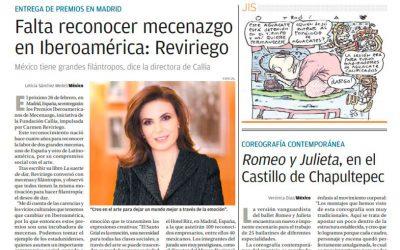 MILENIO. INTERVIEW WITH CARMEN REVIRIEGO. IT IS NECESSARY TO RECONISE PATRONAGE IN IBEROAMERICA