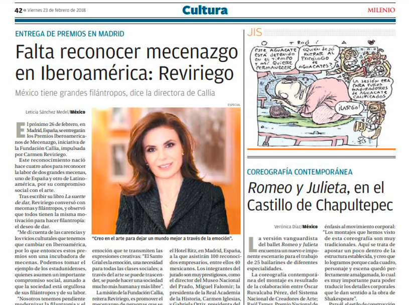 MILENIO. INTERVIEW WITH CARMEN REVIRIEGO. IT IS NECESSARY TO RECONISE PATRONAGE IN IBEROAMERICA