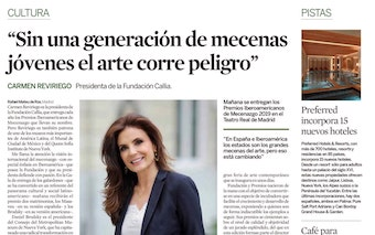 EXPANSION CULTURA. INTERVIEW WITH CARMEN REVIRIEGO. WITHOUT A GENERATION OF YOUNG PATRONS ART IS IN DANGER