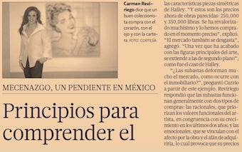 EL ECONOMISTA. INTERVIEW WITH CARMEN REVIRIEGO. PRINCIPLES IN ORDER TO UNDERSTAND THE ART MARKET